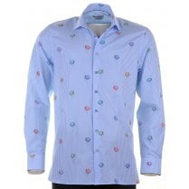 Cotton Tailored Stripe Shirt with Fish Design