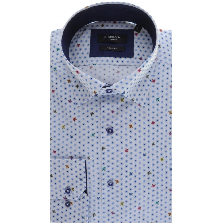 GIORDANO Cotton Tailored White Shirt with Blue Flowers