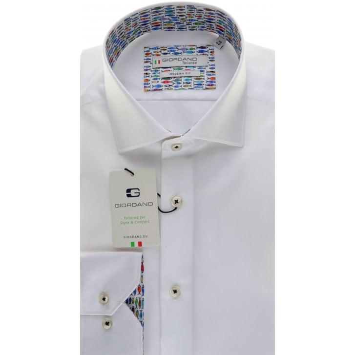 GIORDANO Cotton Tailored White Shirt with Fish Trim