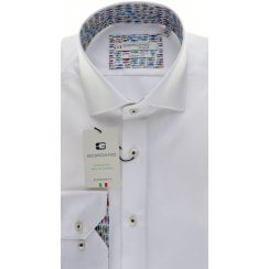 Cotton Tailored White Shirt with Fish Trim