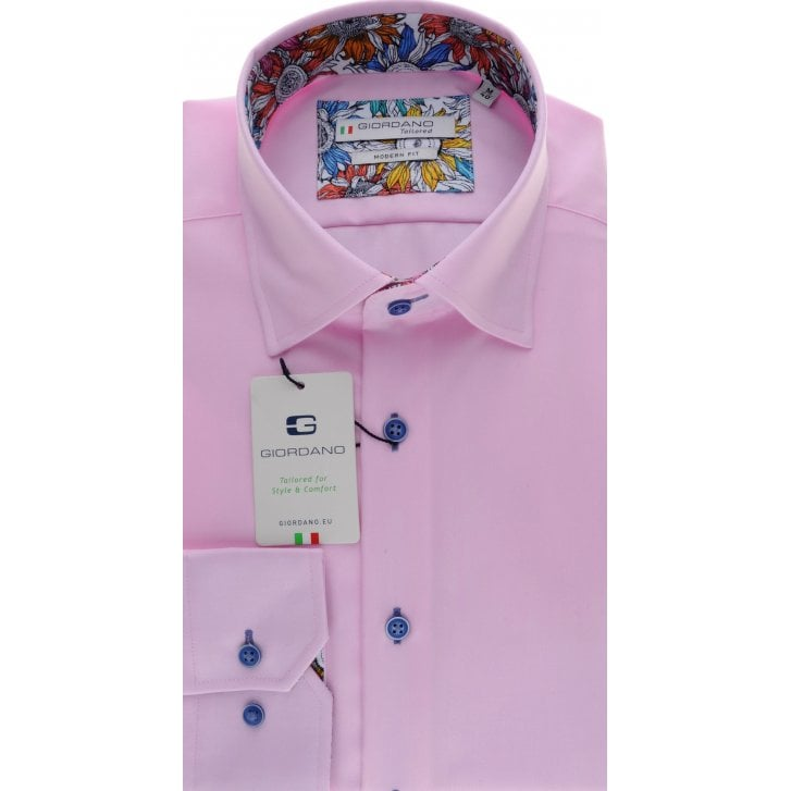 GIORDANO Cotton Twill Tailored Shirt in White or Pink