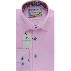 Cotton Twill Tailored Shirt in White or Pink