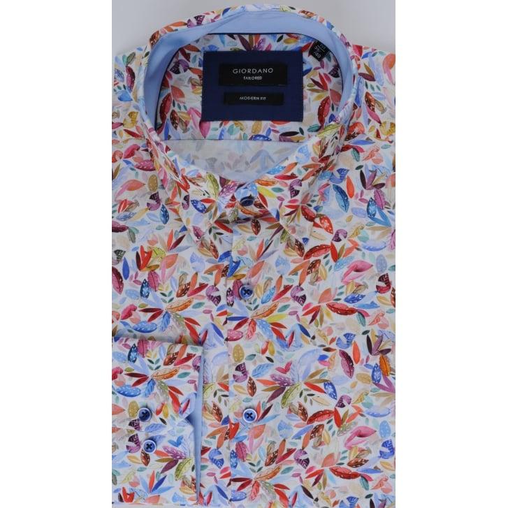 GIORDANO Leaf Print Design Cotton Shirt
