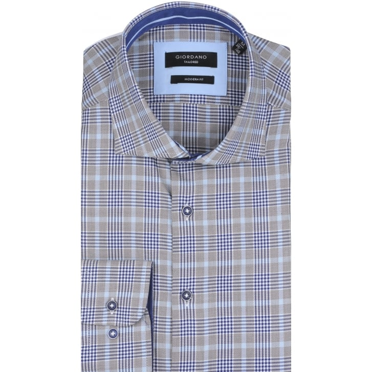 GIORDANO Prince of Wales Check Tailored Shirt