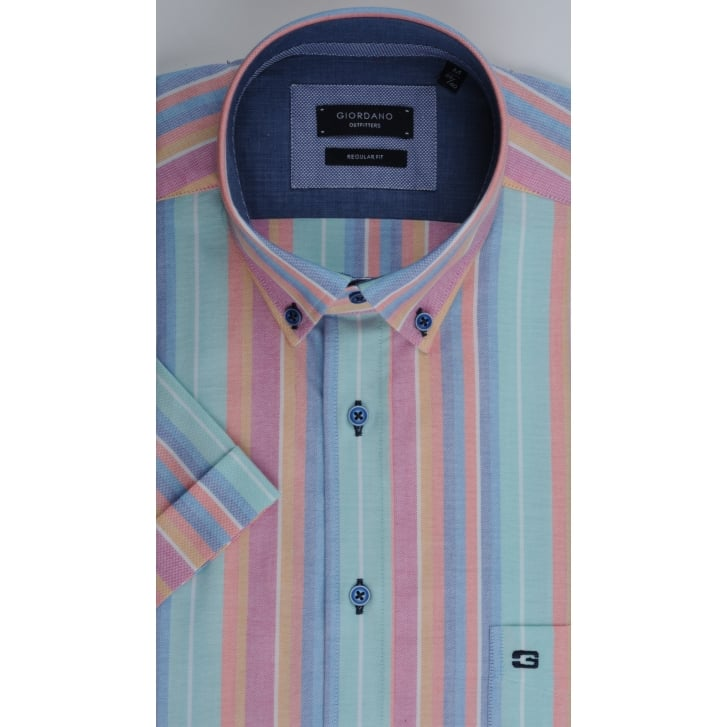 GIORDANO Short Sleeved Cotton Striped Shirt