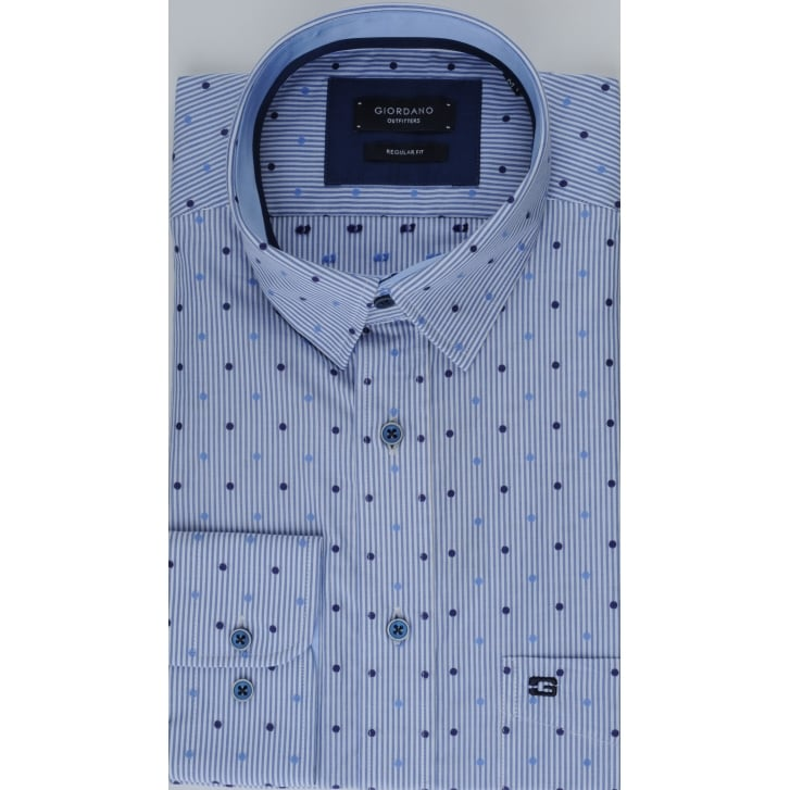 GIORDANO Spot and Stripe Combination Cotton Shirt