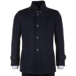 Tailored Fit Navy Wool Mix Coat