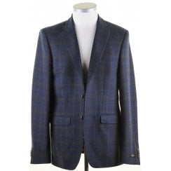 Tailored Navy Blue Jacket with Taupe Overcheck