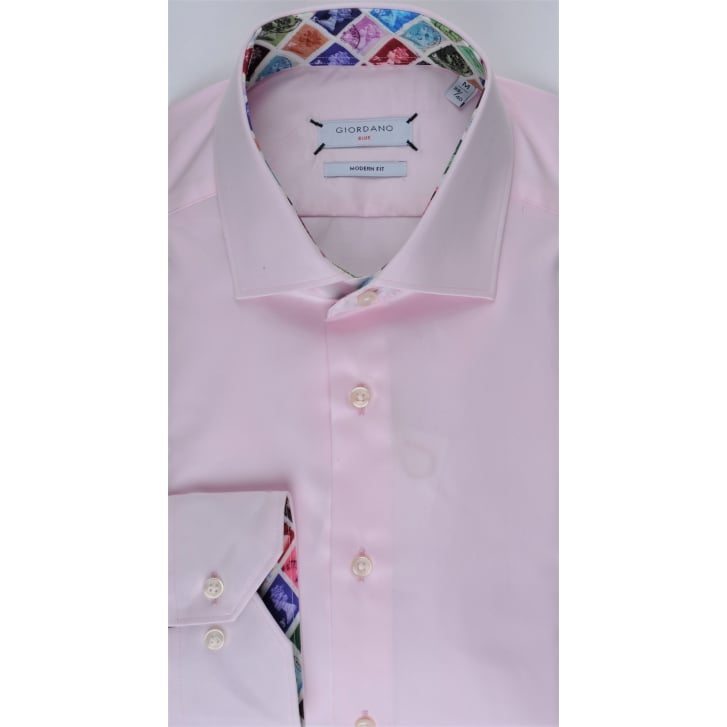 GIORDANO Tailored Pink Cotton Shirt with Stamp Design Trim
