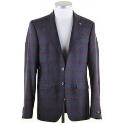 Tailored Wine and Navy Check Single Breasted Jacket