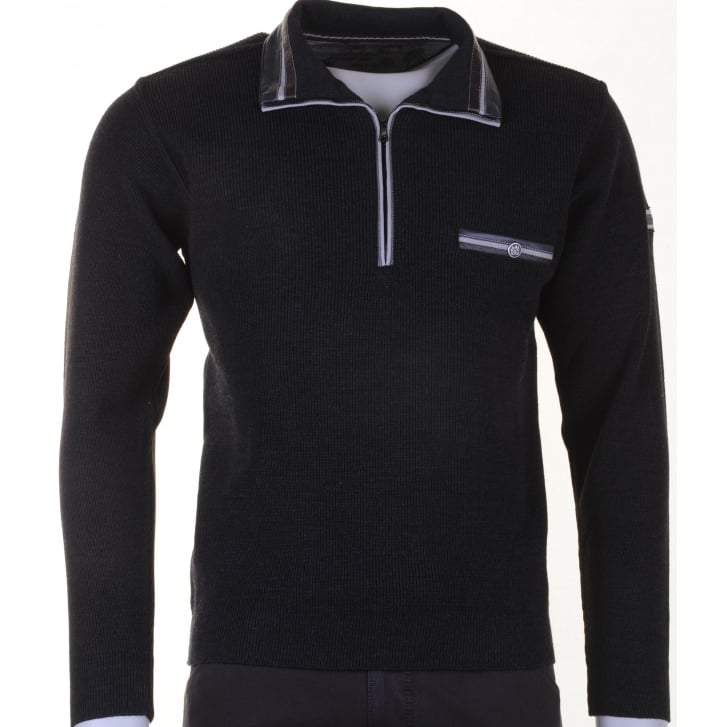GREEN COAST 1/4 Zip Knitwear with Collar in Charcoal or Blue