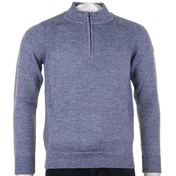 GREEN COAST 1/4 Zip Opening Navy Blue Melange Knitwear