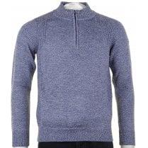 1/4 Zip Opening Navy Blue Melange Knitwear