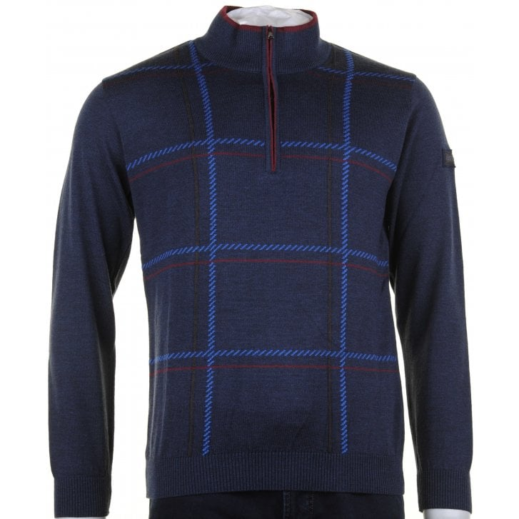 GREEN COAST 1/4 Zip Opening Navy Pure Wool Knitwear
