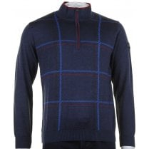1/4 Zip Opening Navy Pure Wool Knitwear