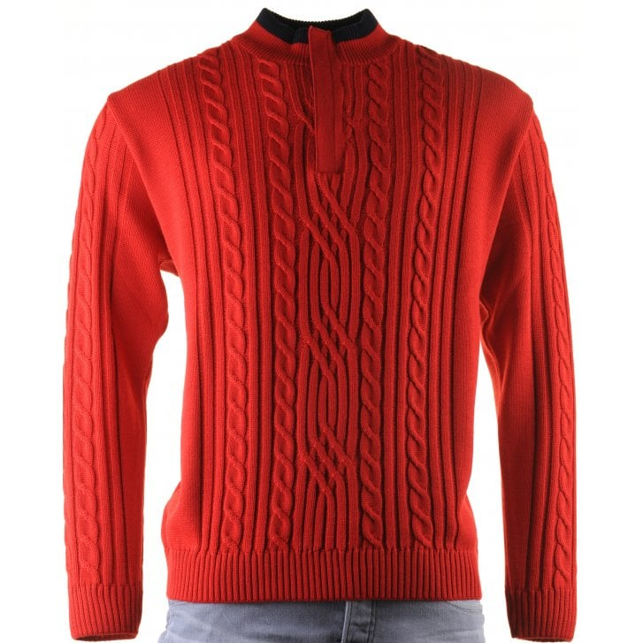GREEN COAST 1/4 Zip Red Cable Stitch Knitwear