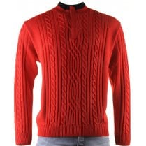 1/4 Zip Red Cable Stitch Knitwear