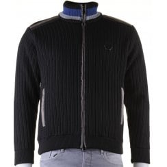 Black Full Zip Fur Lined Cardigan with Side Pockets