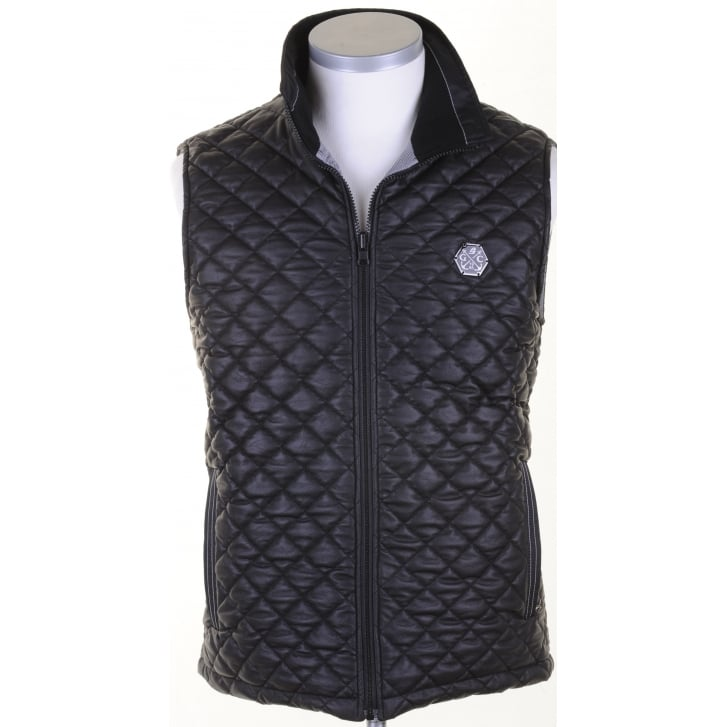 GREEN COAST Black Quilted Reversible Gillet