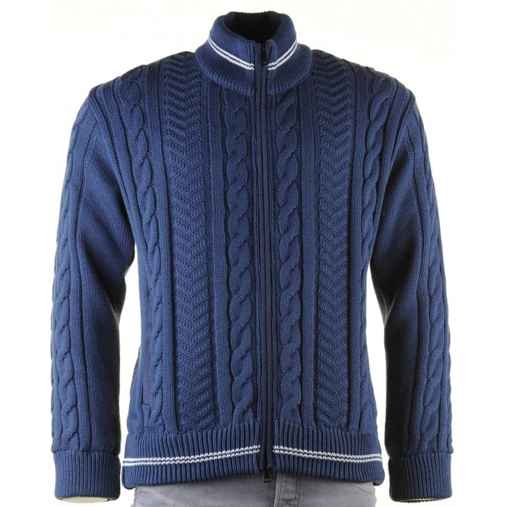 GREEN COAST Blue Cable Knit Full Zip Lined Cardigan with Side Pockets
