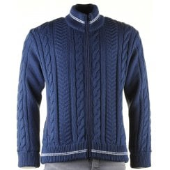 Blue Cable Knit Full Zip Lined Cardigan with Side Pockets
