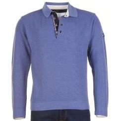 Clasp 1/4 Opening Denim Blue Knitwear