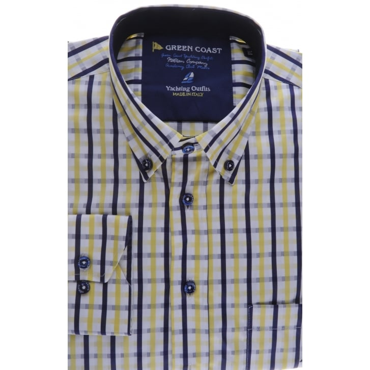 GREEN COAST Cotton Check Shirt in Navy and Yellow