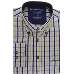 Cotton Check Shirt in Navy and Yellow