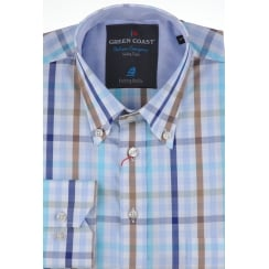 Italian Blue and Beige Pure Cotton Check Shirt