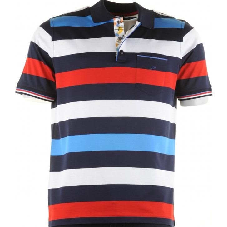 GREEN COAST Italian Short Sleeved Cotton Broad Stripe Polo
