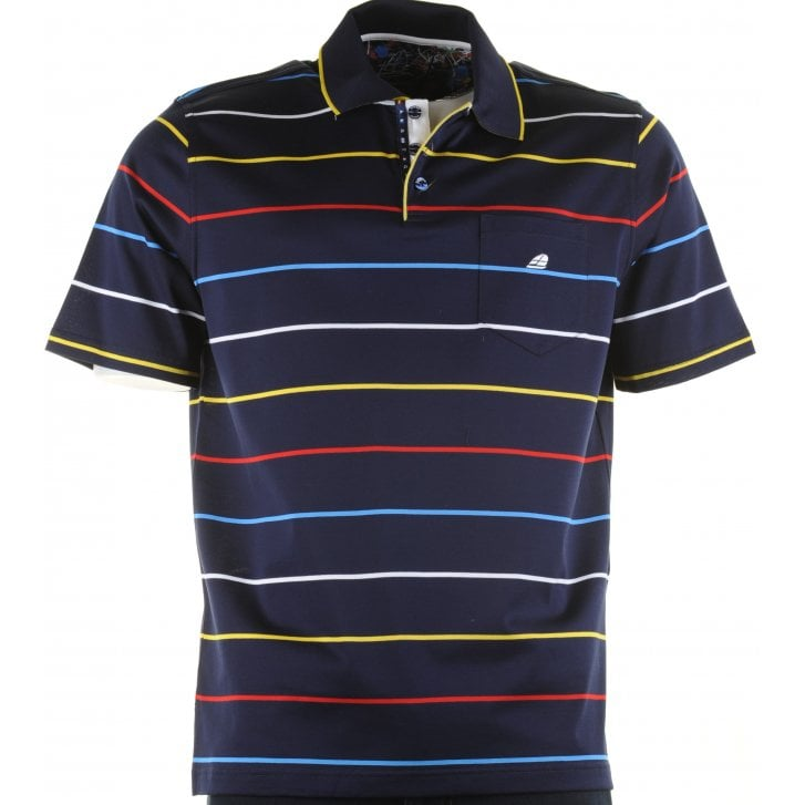 GREEN COAST Italian Short Sleeved Cotton Stripe Polo