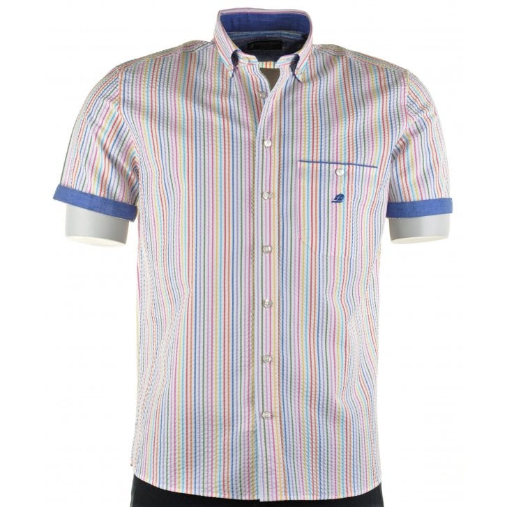 GREEN COAST Italian Short Sleeved Cotton Stripe Shirt