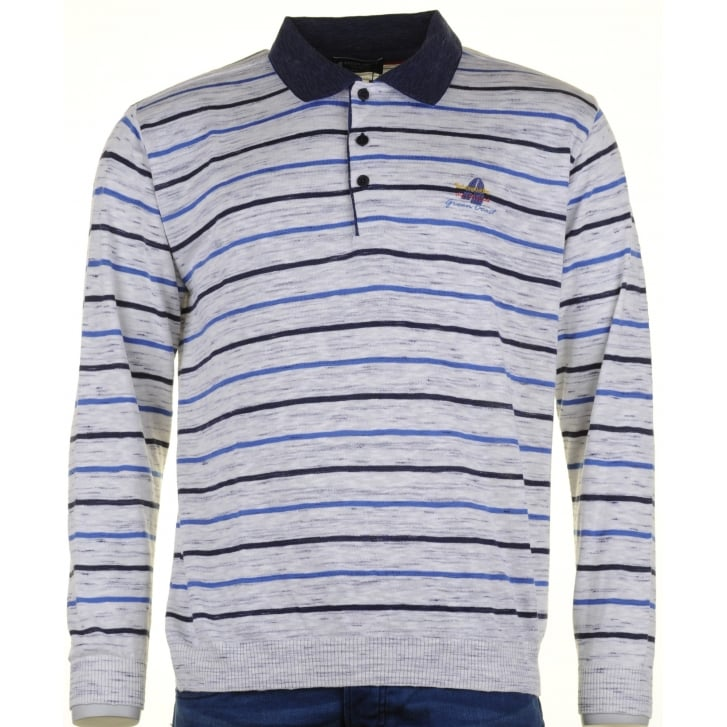 GREEN COAST Italian Striped Long Sleeved Cotton Mix Polo