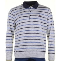 Italian Striped Long Sleeved Cotton Mix Polo