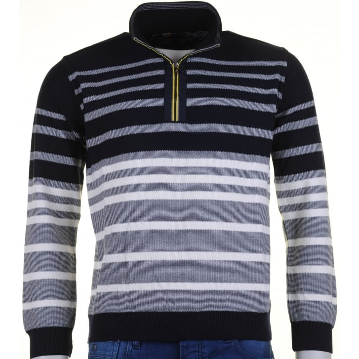 GREEN COAST Knitwear 1/4 Zip Stripe Navy