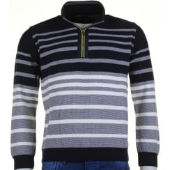 Knitwear 1/4 Zip Stripe Navy