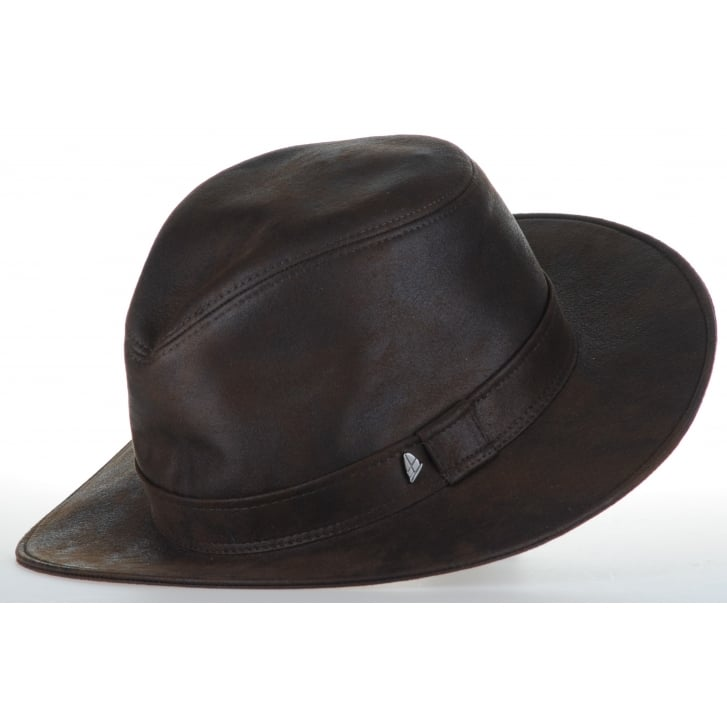 GREEN COAST Leather Effect Brown Hat CP617