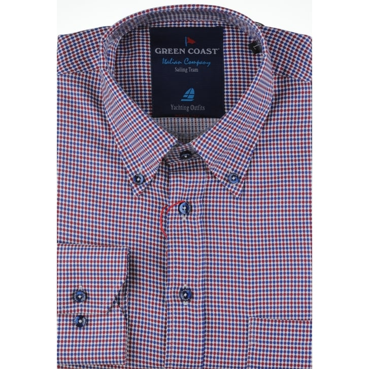 GREEN COAST Navy and Red Pure Cotton Classic Shirt