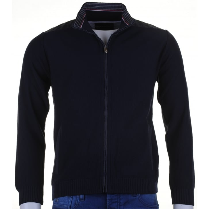 GREEN COAST Navy Full Zip Cardigan with Side Pockets