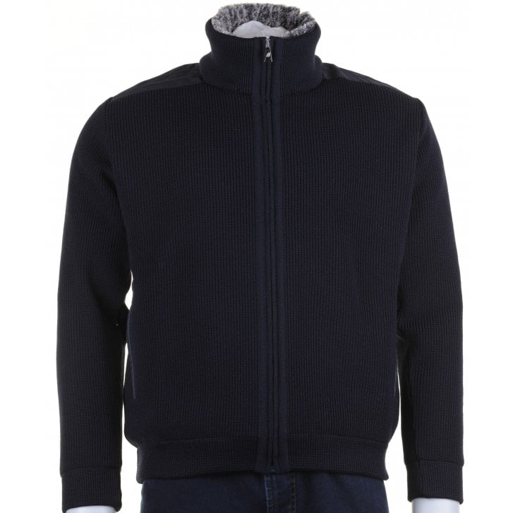 GREEN COAST Navy Knit Full Zip Lined Cardigan with Side Pockets