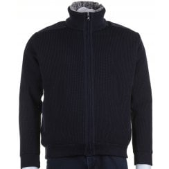 Navy Knit Full Zip Lined Cardigan with Side Pockets