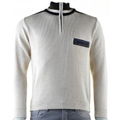 Quality 1/4 Zip Knitwear with Pocket in Beige