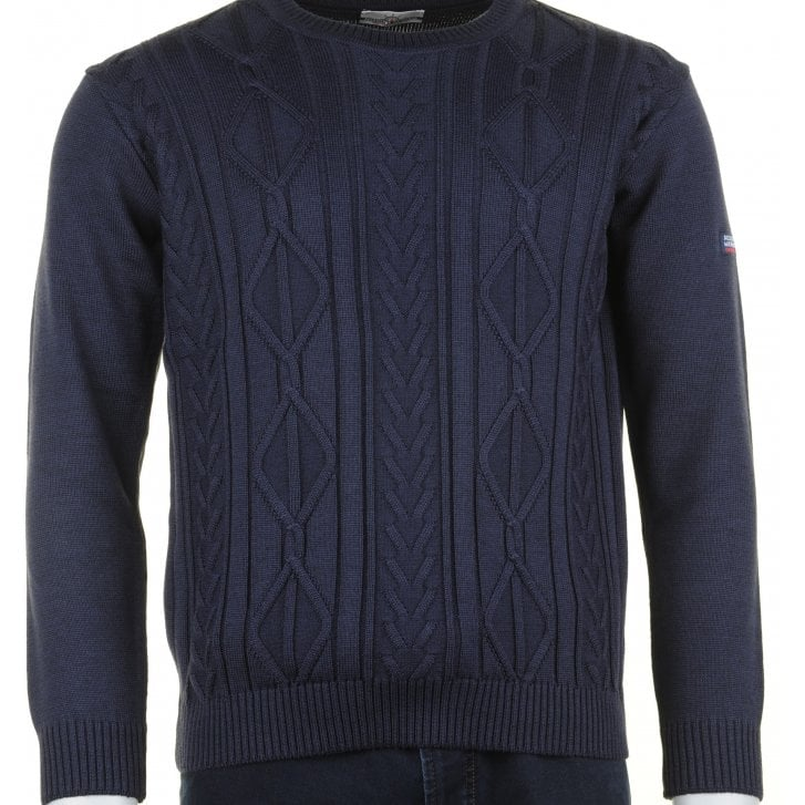 GREEN COAST Round Neck Cable Stitch Navy Knitwear
