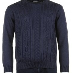 Round Neck Cable Stitch Navy Knitwear