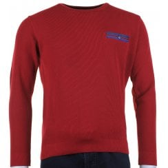 Round Neck Wine Knitwear with Pocket