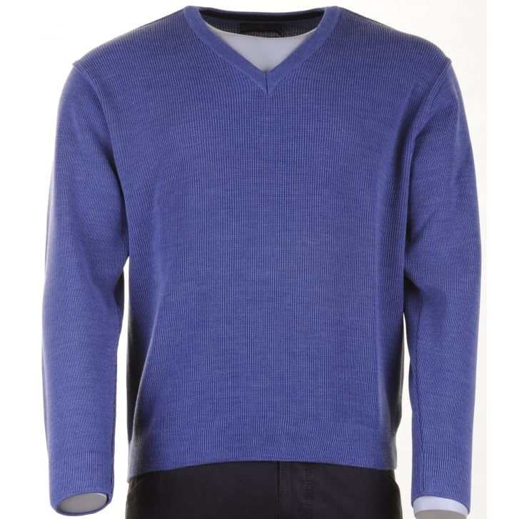 GREEN COAST V Neck Wool Mix Jumper in Blue or Taupe