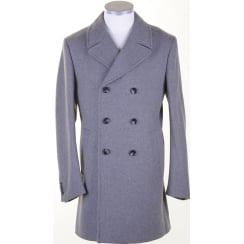 Grey Double Breasted Overcoat