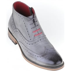 Grey Laced Brogue Boot with Side Zip