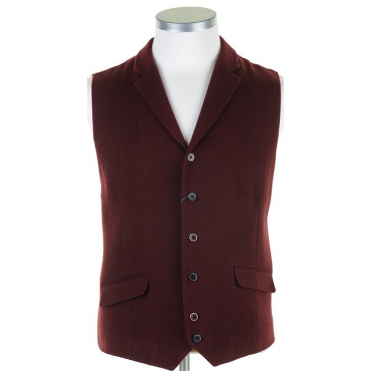 GUIDE Burgundy Single Breasted Waistcoat with Lapels