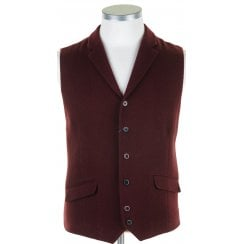 Burgundy Single Breasted Waistcoat with Lapels